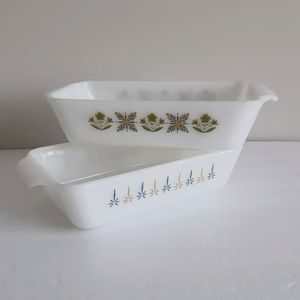 2 Fire King loaf pans Meadow Green and Candle Glow